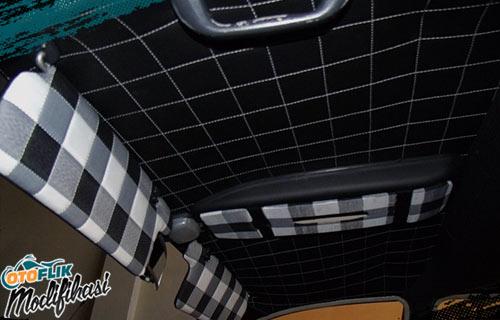 Modifikasi Plafon Mobil Motif Sarung