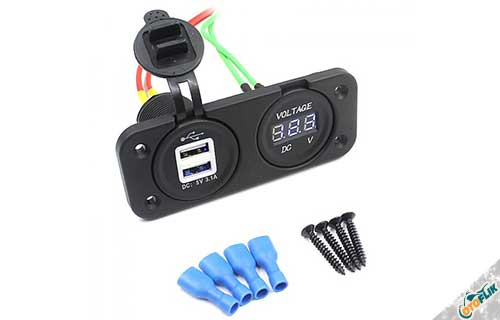 Charger Motor NMAX Dual USB + Voltmeter
