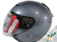 KYT DJ Maru Gun Metal Helm Half Face - Abu-Abu Tua