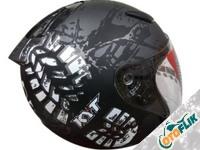 KYT DJ Maru Helm Half Face - Gunmetal Doff Black