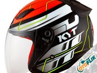 KYT DJ Maru Helm Half Face - Red Fluo Yellow