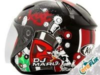 KYT DJ Maru Helm Half Face - Red Maroon