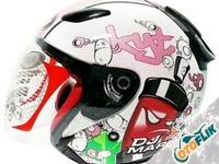 KYT DJ Maru Helm Motor Half Face - White Pink