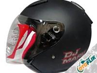 KYT DJ Maru Solid Black Dop Half Face