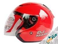 KYT DJ Maru Solid Helm Half Face - Fire Red
