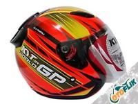 KYT DJ Maru World GP Helm Half Face - Red Fluo
