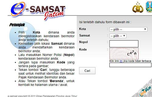 Cek Pajak Kendaraan Jatim Lewat Website Online