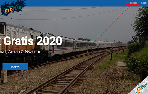 Sebagai contoh jika pilih mudik gratis kereta api maka kamu mendaftar dulu dengan cara klik menu Register pada bagian sebelah kanan atas