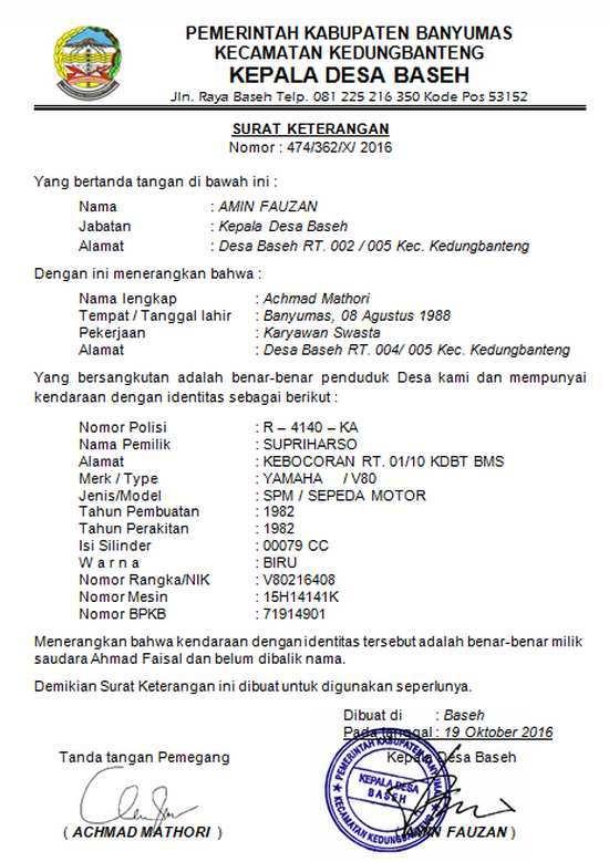 Contoh Surat Kehilangan Sepeda Motor Desa