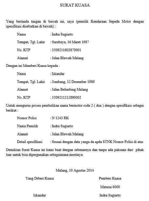 Contoh Surat Kuasa Balik Nama Motor