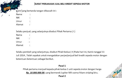 Contoh Surat Perjanjian Jual Beli Motor