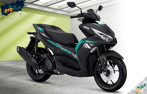 All New Yamaha Aerox 155 Connected STD Matte Black Cyan