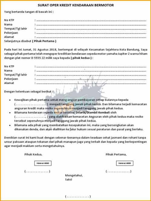 Contoh Surat Perjanjian Over Kredit Motor