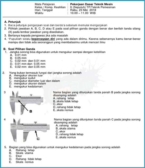 Contoh Soal PDTM Kelas 10 Teknik Pemesin Semester 2