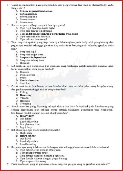 Contoh Soal Pemeliharaan Sasis Motor Kelas 11 Sepester 2